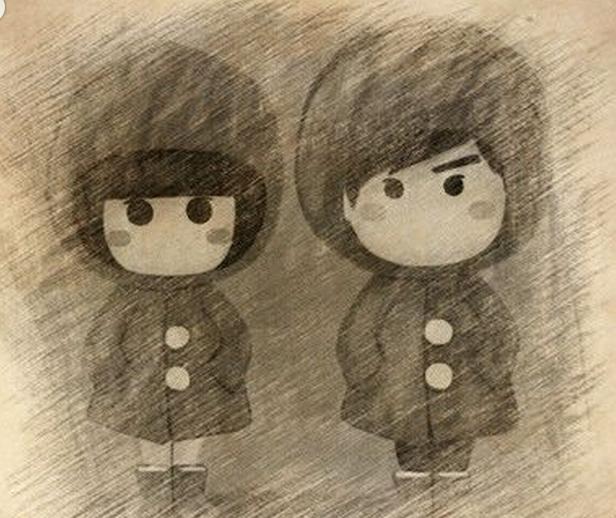 动手-手绘铅笔画情侣卡通人物-by