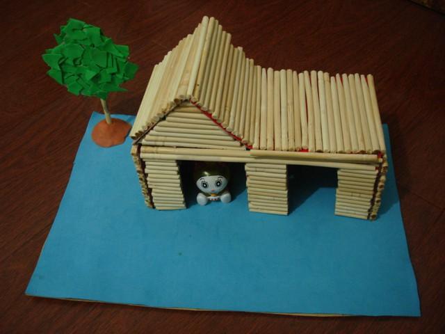 一次性筷子手工制作的房子