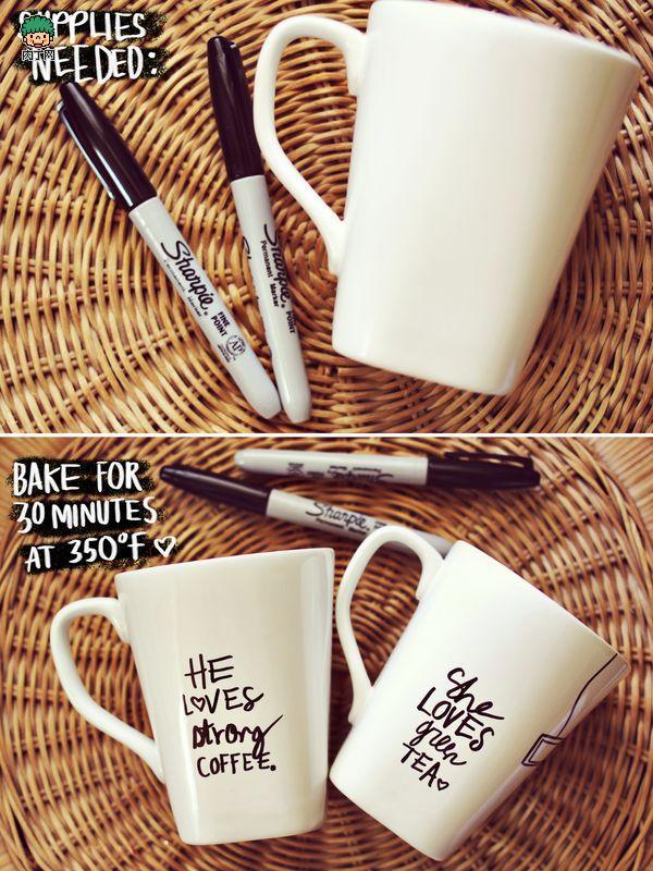 intro: 马克笔手绘简单创意的字母图案情侣杯