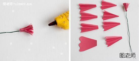 步骤六:把他们用热熔胶粘在花蕾周边。 步骤七:取出椭圆形卡纸,用剪刀剪开两道小口。  步骤八:把剪开的小口用热熔胶叠粘在一起。 步骤九:然后把他们粘在花朵上。  步骤十:再取出水滴状卡纸,把它向内卷弯,然后同样粘在花朵上。 步骤十一:接着用绿色胶布把两根细铁线缠在一起。  步骤十二:整理好花朵形状,我们的玫瑰花就做好了。  步骤十三:鲜艳的玫瑰花,你学会了麽?