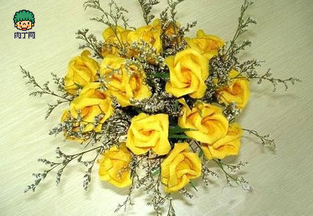 动手-纸玫瑰的折法图解