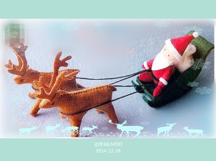 圣诞节简单可爱的不织布diy图解小鹿牵着雪橇上的圣诞老人